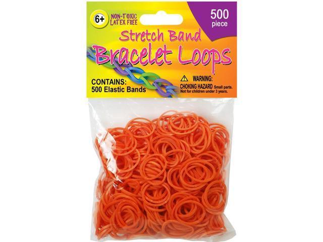 Stretch Band Bracelet Loops 500/Pkg-Orange