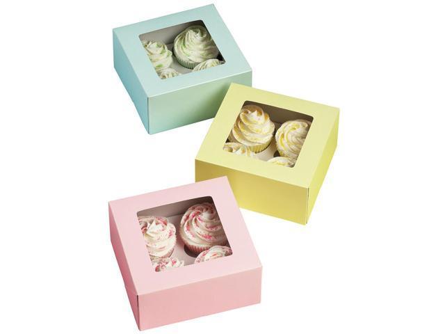 Cupcake Boxes-4 Cavity Pastel 3/Pkg