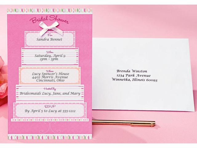 Invitation Kit 12/Pkg-Bridal Shower/Pink-White Cake