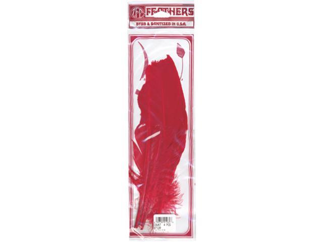 Turkey Quill Feathers 4/Pkg-Red