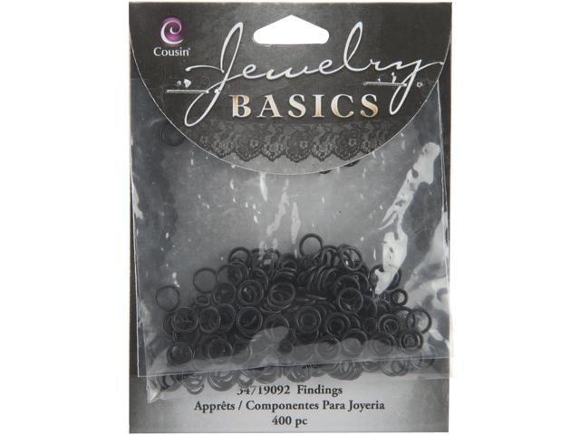 Jewelry Basics Metal Findings 400/Pkg-Black Jump Rings 4mm To 6mm