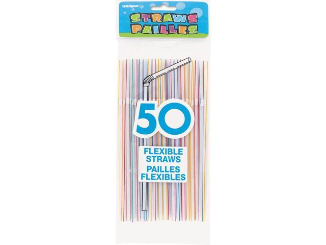 Flexible Straws 50/Pkg-Striped