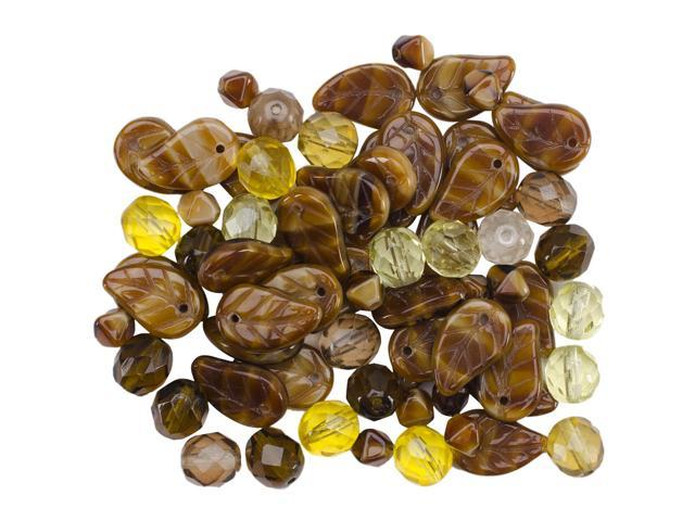Square Tube Glass Beads 2oz-Pressed Amber Mix