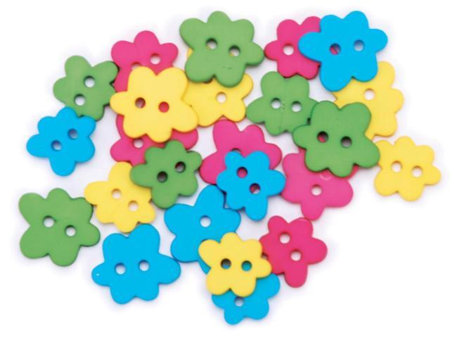 Favorite Findings Buttons-Bright Flowers 23/Pkg