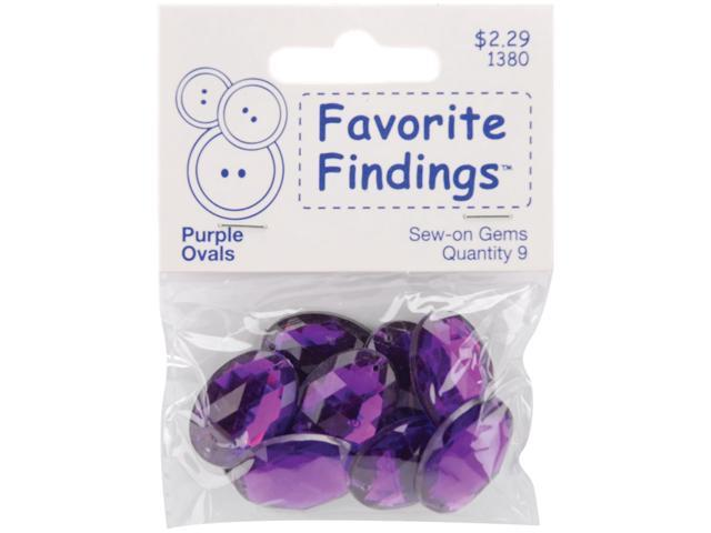 Favorite Findings Sew-On Oval Gems-Purple 9/Pkg