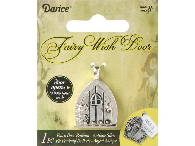 Fairy Door Metal Charm 1/Pkg-Antique Silver W/Window