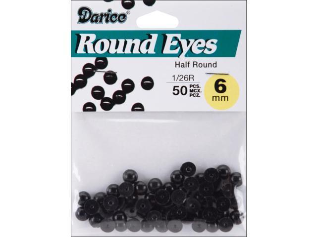 Paste-On Half Round Eyes 6mm 50/Pkg-Black