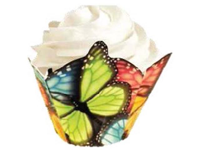 Pleated Standard Baking Cups-Multicolor Butterfly 15/Pkg
