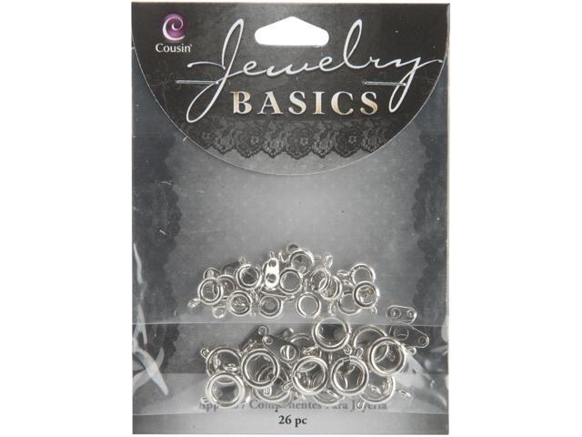 Jewelry Basics Metal Findings 26/Pkg-Silver Assorted Spring Rings