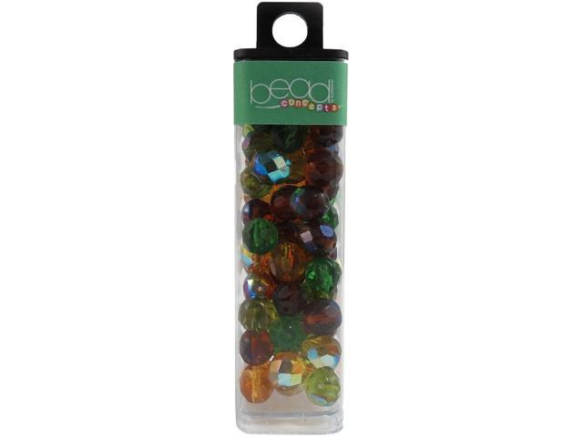 Square Tube Glass Beads 2oz-Fire Polished Earthtone Mix