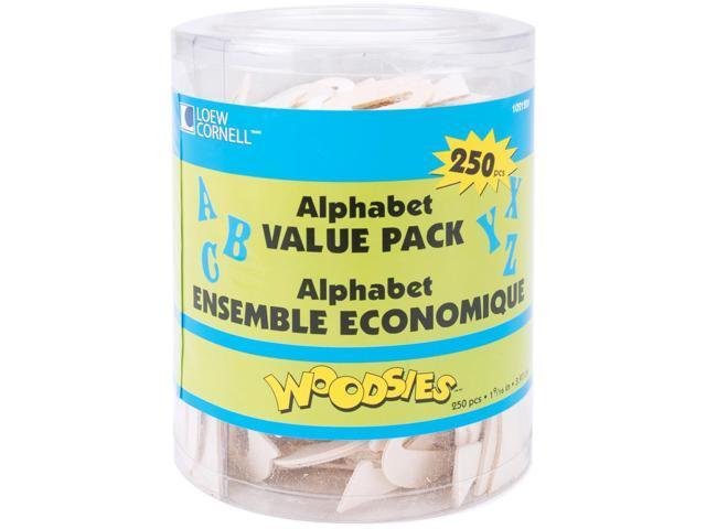 Woodsies Alphabet 250/Pkg-Natural 1.5625