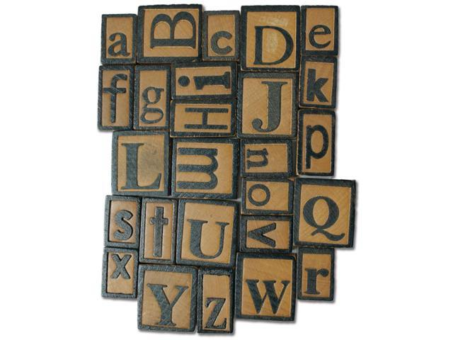 Salvaged Wood Letterpress Blocks 5mm 26/Pkg-Alphabet