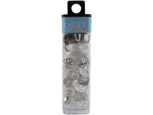 Square Tube Glass Beads 2oz-Crystal White Mix