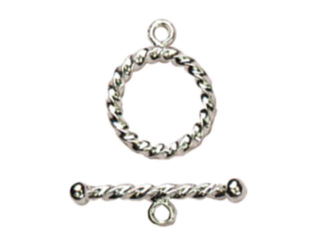 Sterling Elegance Genuine 925 Silver Beads & Findings-Small Rope Toggle 1/Pkg