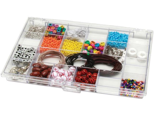 Plastic storage box 10 5 x6 5 compartments for Darice jewelry designer bead storage system with 24 containers