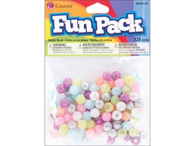 Fun Pack Acrylic Round Beads 125/Pkg-Assorted Glitter