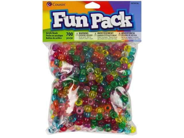 Fun Pack Acrylic Pony Beads 700/Pkg-Transparent Rainbow