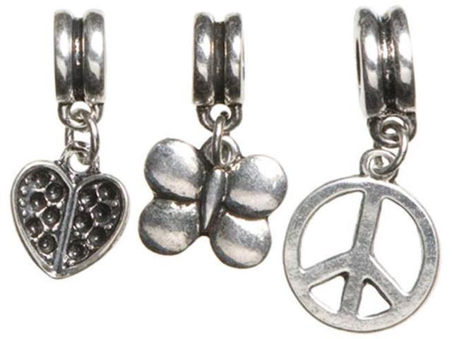 Trinkettes Metal Silver Charms-Girl Mix 3/Pkg