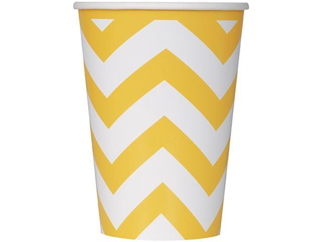 Paper Hot & Cold Cups 12oz 6/Pkg-Sunflower Yellow Chevron