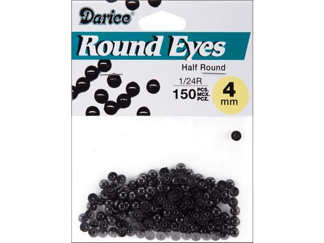 Paste-On Half Round Eyes 4mm 150/Pkg-Black