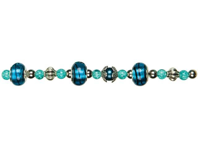 Jewelry Basics Glass Bead Mix 31/Pkg-Teal Large Hole