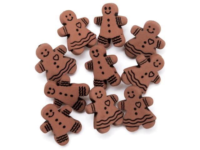 Favorite Findings Holiday Buttons-Gingerbread Cookies 9/Pkg