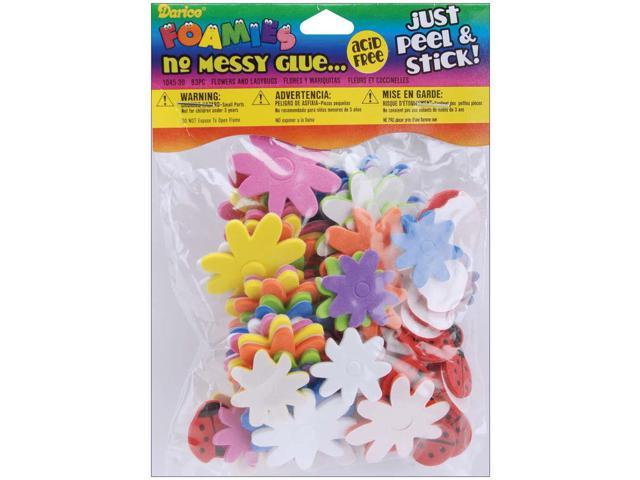 Foam Stickers 83/Pkg-Flowers & Ladybugs