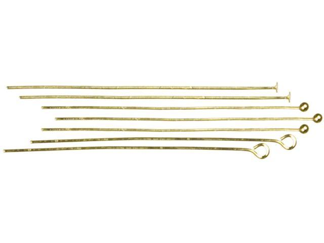 Jewelry Basics Metal Findings 135/Pkg-Gold Head & Eye Pins