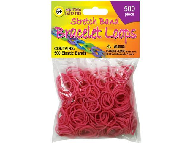 Stretch Band Bracelet Loops 500/Pkg-Neon Pink