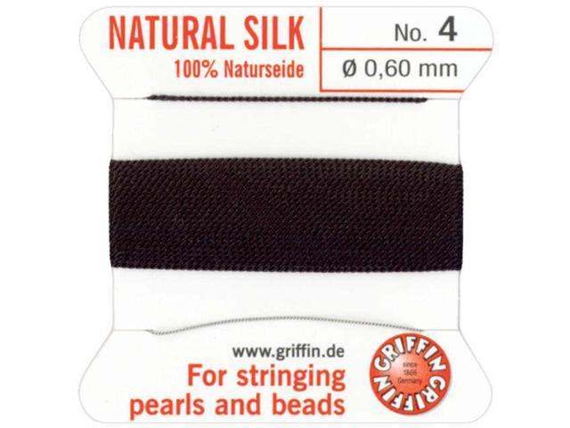 Natural Silk Bead Cord .6mmX2m-Black