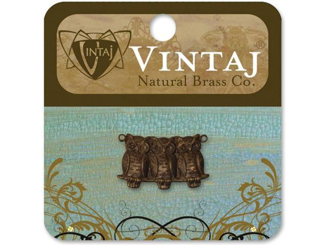 Vintaj Metal Accent-Perched Owls 22mmX11.5mm 1/Pkg