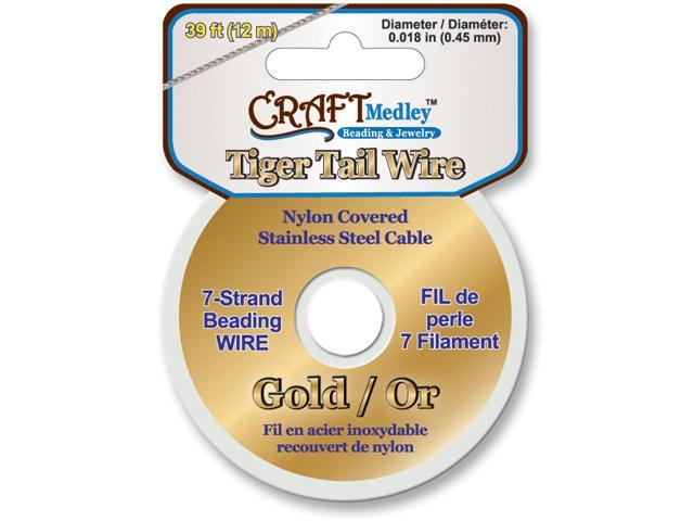Tiger Tail Beading Wire 7-Strand .45mmX39'-Gold