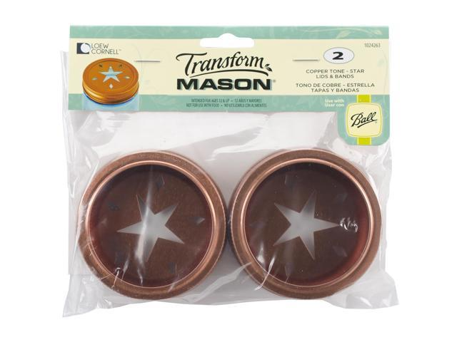 Transform Mason Lids & Bands 2/Pkg-Copper Star