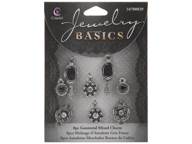 Jewelry Basics Metal Charms-Gunmetal Mixed 8/Pkg