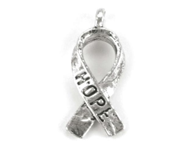 Blue Moon Silver-Plated Metal Charms-Hope Ribbons 12/Pkg