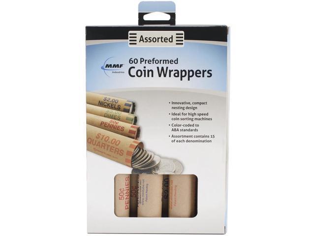 Nested Preformed Coin Wrappers 60/Pkg-Penny, Nickel, Dime & Quarter