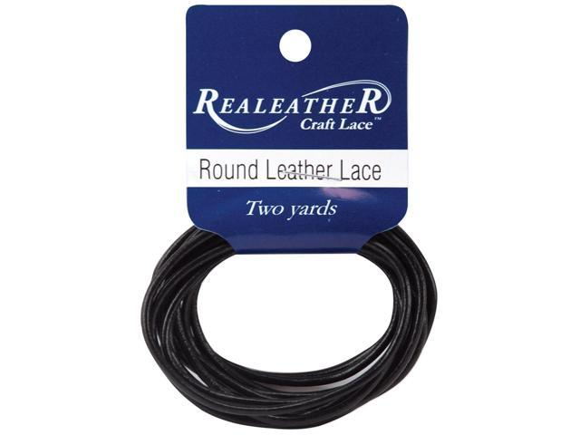Round Leather Lace 2mmX2yd Packaged-Black