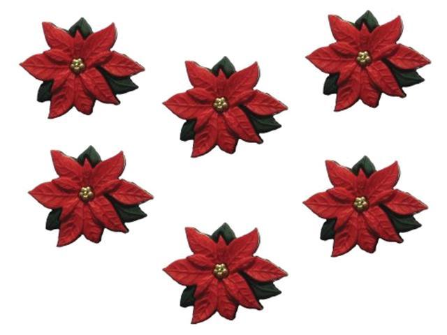Dress It Up Holiday Embellishments-Red Poinsettias