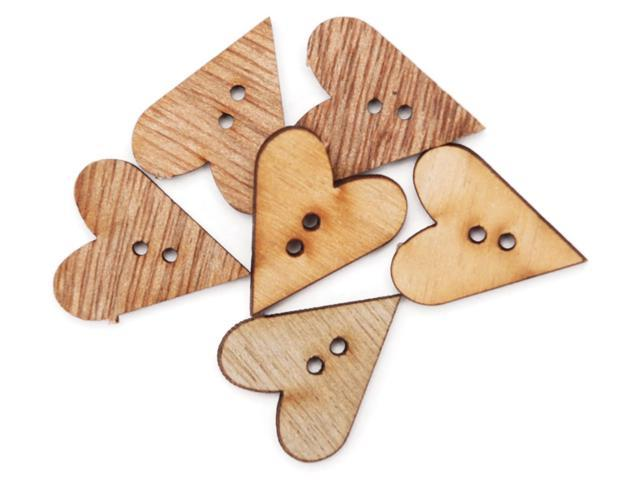 Favorite Findings Wood Buttons-Simple Hearts 6/Pkg