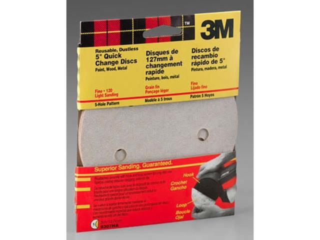 """5 PC 3M 120 Grit Hook and Loop Sanding Discs 5"""" NEW 3M 9307NA 051144093076"""