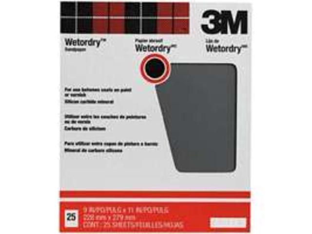 3M 99421 9X11 320-Amp Wet/Dry Sandpaper Between Coats  for Metal Pack of 25