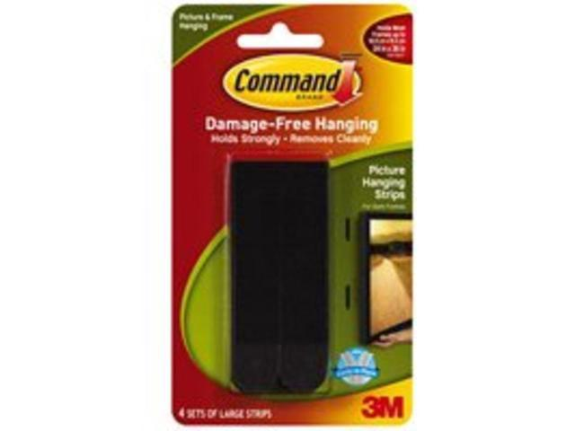 3M 17206BLK Command Large Picture Hanging Strips Black 4 sets/pack