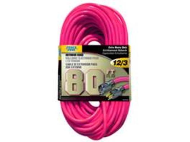 EXT CORD 12/3 80FT NEON PINK