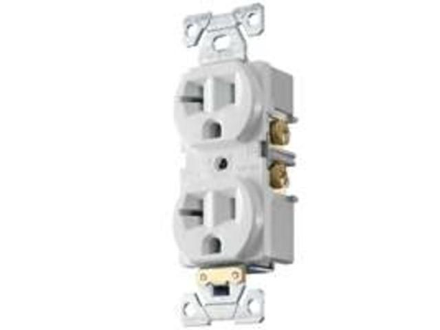 Receptacle Dpx 125V 20A 2P Wht COOPER WIRING Single Receptacles BR20W White