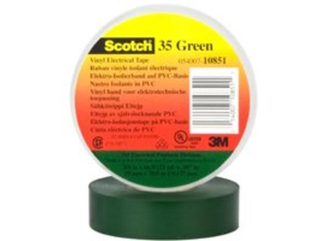 Tape Elec 3/4In 66Ft 7Mil Rubb 3M Wire Terminal Ends 35 Green Rubber