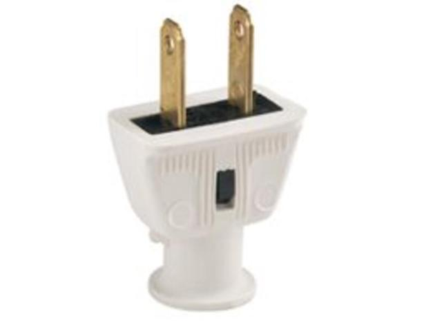 White Rubber 2Wire Plug Cooper Wiring Cord Ends-Male 220v BP183W-SP-L