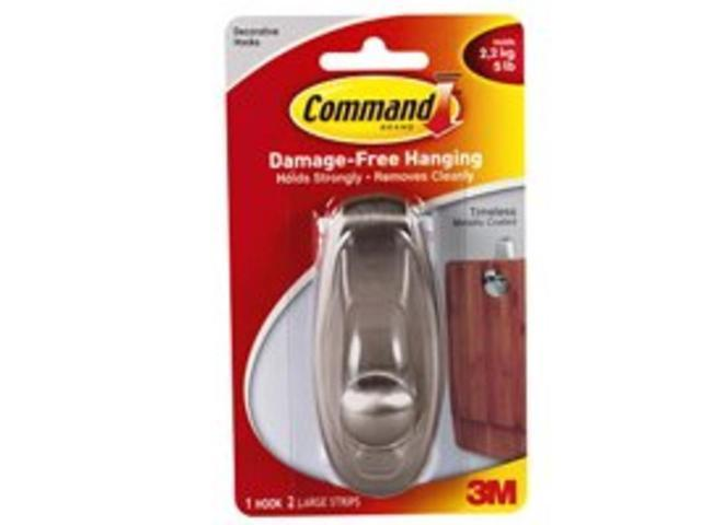 3M 17063BN Command Timeless Brushed Nickel Finish Large Hook 1 hook, 2 strips