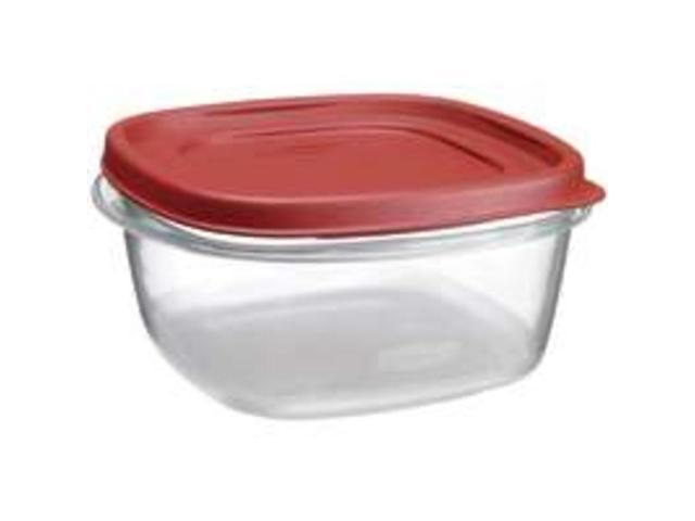 Rubbermaid 5 Cup Square Chili Red Easy Find Container  1777087