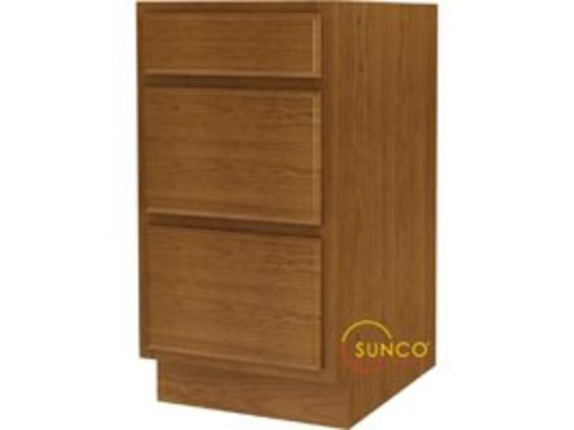 18 In Wide 3 Drawer Base Cab SUNCO INC. Kitchen Cabinets DBR18RT 028645192355