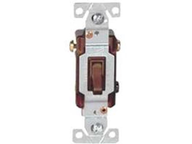 Cooper Wiring 1303B 3-Way Brown Toggle Switch Standard Grade -Side and Push Wire